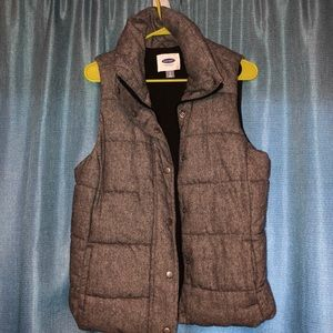 Gray chambray vest with fleece lining
